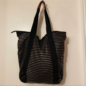 NWT black and gold striped tote bag